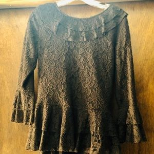 Zadie b's brown ruffled skirt and top set